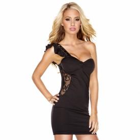 Облегающее клубное платье с прозрачной вставкой