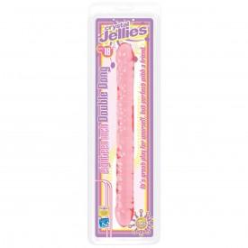 Розовый двухголовый фаллоимитатор Crystal Jellies - 45,7 см.
