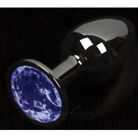 Графитовая анальная пробка с синим кристаллом - 8,5 см.