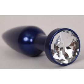Большая синяя анальная пробка с прозрачным стразом - 11,2 см.